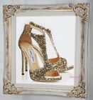 Glitter & crystals Jimmy shoe picture. Gold chic Framed or Canvas! Any Size.