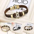 Nouveau unisexe Style Punk Bracelet cuir synthétique Patchwork Bangle IS