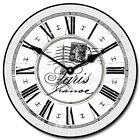 Paris Gray LARGE WALL CLOCK 10- 48 Whisper Quiet Non-Ticking WOOD HANDMADE