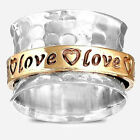 Solid 925 Sterling Silver Spinner Ring Love Heart Golden Spinning Wide Band