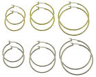 Choose High Quality Gold Or Silver Overlay Hoop Earrings 30 MM, 35 MM, 45 MM