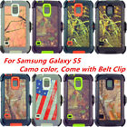 For Samsung Galaxy S5 Camouflage Case w/(Belt Clip Fits Otterbox Defender)