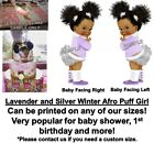 Winter Ruffle Pants Lavender Silver Afro Puff Baby EDIBLE Cake Image Baby Shower