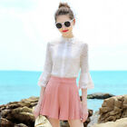 MIYING Summer Solid Turtleneck Hollow Out Flare Sleeve High Quality Lace Shirts