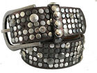 METALLIC BROWN  SILVER STUDDED SYNTHETIC & REAL LEATHER BELT 40MM S M L