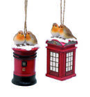 Festive BRITISH ROBIN BIRD on a TELEPHONE BOX or POSTBOX CHRISTMAS TREE BAUBLE
