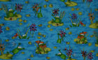 Green Frog Happy Frogs Lady Bug Dragonfly Floral Cotton Quilting Fabric t3/23