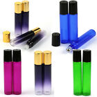 1~100PCS 10ml Glass Roll on Bottles Essential Oil Perfume Metal or Glass Roller