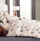 Elegant Leaves 100% Cotton Bedding Set: 1 Duvet Cover 2 Pillow Shams  Queen/King