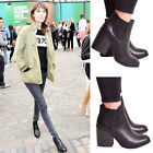 New Ladies Womens Ankle Boots High Block Heel Zip Comfy Casual Shoes Sizes 3-8