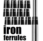12 Ferrules Black iron wedge hybrids (Select your Style and Size .370 or .355)