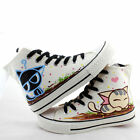Women Men Hand-Painted Cute Kitten Cat Print Ankle-high Boy Girl's Canvas Shoes