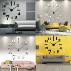 Modern DIY Large Wall Clock 3D Mirror Surface Sticker Home Decor Easy to Apply..