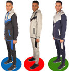 Mens V Panel Contrast Fleece Hooded Tracksuit Jogging Bottoms Zip Hood Top Suit