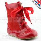 GIRLS SPANISH BOOTS FAUX SUEDE PATENT RIBBON NAVY CAMEL BLACK RED CREAM UK 2-12
