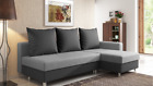 Compact Corner Sofa Bed Storage Left Right Handed Fabric Plain Grey Brown