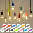 Fashion Color Silicone Ceiling Rope Cord Pendant Lamp Holder Light Bulb Socket