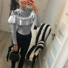 Womens Long Sleeve Lace T-Shirt Ladies Loose Tops Blouse Cold Shoulder Frill Tee