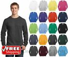 Mens Long Sleeve T-Shirt Cotton Comfort Soft Blank Color Tee Plain Casual PC54LS image