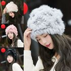New Fashion Rabbit Fur Hat Women Winter Warm Earmuffs Cap Regular Women's Size