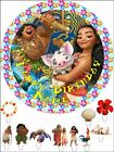 "EDIBLE ROUND 7,5"" MOANA BIRTHDAY CAKE TOPPER AND 10 STANDING TOPPERS"