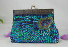 New Iridescent Green Blue Beaded Sequined Peacock Feather Evening Clutch