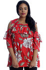 New Womens Plus Size Top Floral Print Ladies Cold Shoulder Tunic Shirt Frill