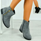 New Womens Fur Lined Ankle Boots Ladies Faux Suede Low Heel Zip Shoes Size Uk