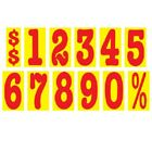 5 1/2 Inch Red & Yellow Numbers Car Dealer Windshield Pricing Stickers You Pick