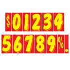 7 1/2 Inch Red & Yellow Numbers Car Dealer Windshield Pricing Stickers You Pick