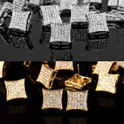bling earrings - Men's Bling 18K Gold Plated Square Kite 2 Tone Iced Out Micropave Stud Earrings