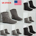 Women Suede Buckle Ankle Boots Winter Slouch Biker Boots Shoes Flats Size 5 9.5