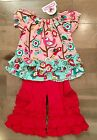Jelly the Pug Pink Love Birds Tascha Tunic & Pants 100% Cotton NWT
