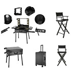 Rolling Cosmetic Makeup Case Travel Beauty Trolley Lighted Station Table & Chair