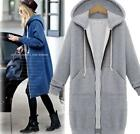 Womens Fashion Korean Hooded Sweater Long TRENCH Coat Jacket Outwear Overcoat