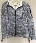 RBX Women's Zip Front Faux Sherpa Lined Hoodie Grey Combo  (CR873). (Size: L)
