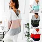 Women's Patchwork Long Sleeve Round Neck Casual Tops Shirt Loose T-shirt Blouse