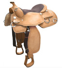 """15"""" / 16"""" / 17"""" Natural USA Leather ROUGH OUT WESTERN SADDLE"""