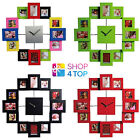 12 PICTURE PHOTO FRAME WALL CLOCK MODERN HOME DECOR FAMILY NOVELTY GIFT NEW