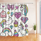 Fashion Patch Badges Hearts Cats Rainbow Fabric Shower Curtain Bath 71Inches