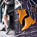 Womens Casual Leather Retro Pull On Chunky Block Heels Chelsea Ankle Boots Shoes