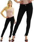 Women's Skinny Jeggings Jeans Ladies Self Print Black Tight Fit Gold Button 8-16