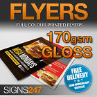 PRINTED FLYERS / Leaflets Full Colour 170gsm Gloss Print A3 / A4 / A5 / A6 / DL