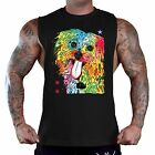 Men's Neon Shih Tzu Black T-Shirt Tank Top Gym Workout Muscle Fitness Paint Dog