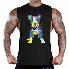 Men's Puppy Pitbull Black T-Shirt Tank Top Gym Workout Muscle Fitness Neon Dog