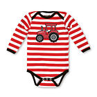 Polka Dot Tractor/Red White Stripe w/Black Trim Long Sleeve One Piece