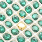 8x10mm Glass Oval (4128) Emerald Green Crystal Sew On Rhinestones Sewing Beads