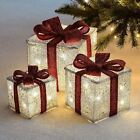 3 x Light Up Festive Xmas Christmas Gift Box Set with Bow Decoration Lights