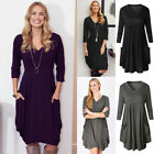 Womens V Neck Loose Pleated Pocket Baggy Ladies Casual Evening Party Dress 6-16