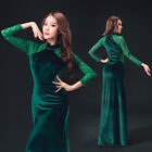 New 2017 Lace Stitching Winter Belly Dance Costumes High Slit Long Dress M L